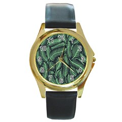 Coconut Leaves Summer Green Round Gold Metal Watch