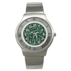 Coconut Leaves Summer Green Stainless Steel Watch