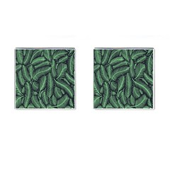 Coconut Leaves Summer Green Cufflinks (square)