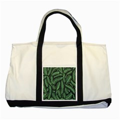 Coconut Leaves Summer Green Two Tone Tote Bag