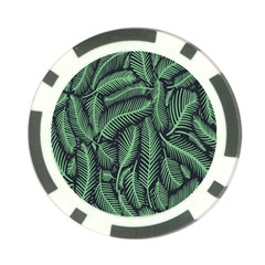 Coconut Leaves Summer Green Poker Chip Card Guard