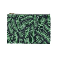 Coconut Leaves Summer Green Cosmetic Bag (large)