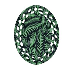 Coconut Leaves Summer Green Ornament (oval Filigree)
