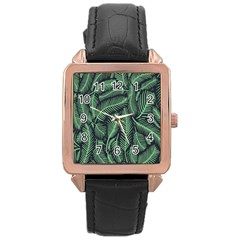 Coconut Leaves Summer Green Rose Gold Leather Watch