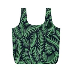 Coconut Leaves Summer Green Full Print Recycle Bags (m)