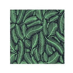 Coconut Leaves Summer Green Small Satin Scarf (square)