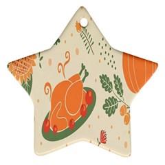 Happy Thanksgiving Chicken Bird Flower Floral Pumpkin Sunflower Ornament (star)