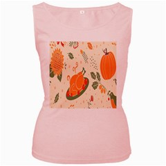 Happy Thanksgiving Chicken Bird Flower Floral Pumpkin Sunflower Women s Pink Tank Top