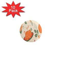 Happy Thanksgiving Chicken Bird Flower Floral Pumpkin Sunflower 1  Mini Magnet (10 Pack)
