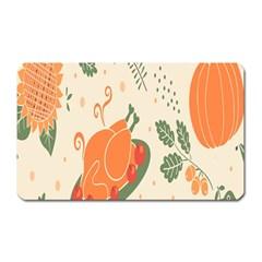 Happy Thanksgiving Chicken Bird Flower Floral Pumpkin Sunflower Magnet (rectangular)
