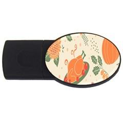 Happy Thanksgiving Chicken Bird Flower Floral Pumpkin Sunflower Usb Flash Drive Oval (2 Gb)