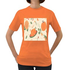 Happy Thanksgiving Chicken Bird Flower Floral Pumpkin Sunflower Women s Dark T Shirt
