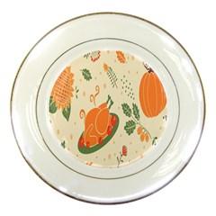 Happy Thanksgiving Chicken Bird Flower Floral Pumpkin Sunflower Porcelain Plates
