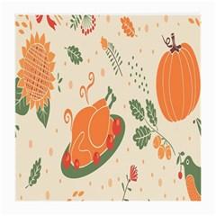 Happy Thanksgiving Chicken Bird Flower Floral Pumpkin Sunflower Medium Glasses Cloth