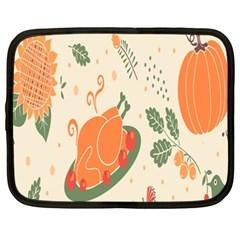 Happy Thanksgiving Chicken Bird Flower Floral Pumpkin Sunflower Netbook Case (xxl)