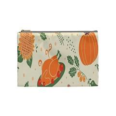 Happy Thanksgiving Chicken Bird Flower Floral Pumpkin Sunflower Cosmetic Bag (medium)