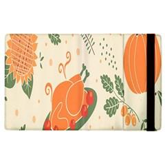 Happy Thanksgiving Chicken Bird Flower Floral Pumpkin Sunflower Apple Ipad 2 Flip Case