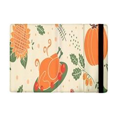 Happy Thanksgiving Chicken Bird Flower Floral Pumpkin Sunflower Apple Ipad Mini Flip Case