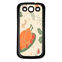 Happy Thanksgiving Chicken Bird Flower Floral Pumpkin Sunflower Samsung Galaxy S3 Back Case (black)
