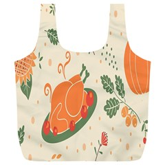 Happy Thanksgiving Chicken Bird Flower Floral Pumpkin Sunflower Full Print Recycle Bags (l)