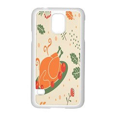 Happy Thanksgiving Chicken Bird Flower Floral Pumpkin Sunflower Samsung Galaxy S5 Case (white)