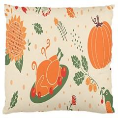 Happy Thanksgiving Chicken Bird Flower Floral Pumpkin Sunflower Standard Flano Cushion Case (one Side)