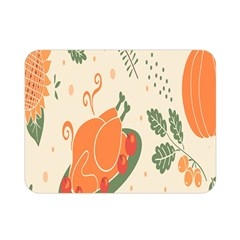 Happy Thanksgiving Chicken Bird Flower Floral Pumpkin Sunflower Double Sided Flano Blanket (mini)