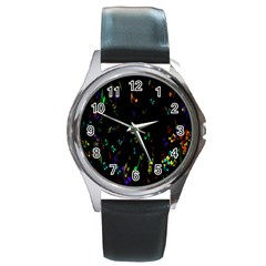 Colorful Music Notes Rainbow Round Metal Watch