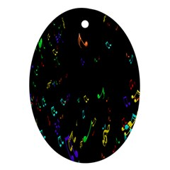 Colorful Music Notes Rainbow Ornament (oval)