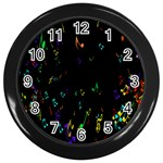 Colorful Music Notes Rainbow Wall Clocks (Black) Front