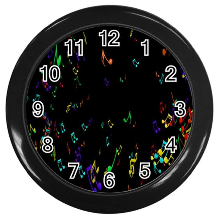 Colorful Music Notes Rainbow Wall Clocks (Black)
