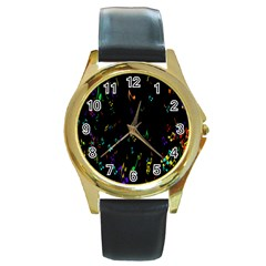 Colorful Music Notes Rainbow Round Gold Metal Watch