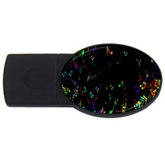 Colorful Music Notes Rainbow Usb Flash Drive Oval (2 Gb)