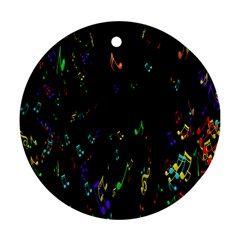 Colorful Music Notes Rainbow Round Ornament (two Sides)