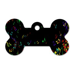 Colorful Music Notes Rainbow Dog Tag Bone (two Sides)