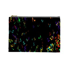 Colorful Music Notes Rainbow Cosmetic Bag (large)