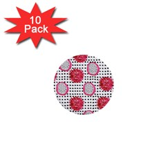 Fruit Patterns Bouffants Broken Hearts Dragon Polka Dots Red Black 1  Mini Buttons (10 Pack)