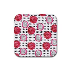 Fruit Patterns Bouffants Broken Hearts Dragon Polka Dots Red Black Rubber Coaster (square)