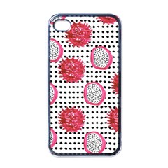 Fruit Patterns Bouffants Broken Hearts Dragon Polka Dots Red Black Apple Iphone 4 Case (black)