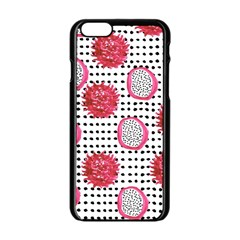 Fruit Patterns Bouffants Broken Hearts Dragon Polka Dots Red Black Apple Iphone 6/6s Black Enamel Case
