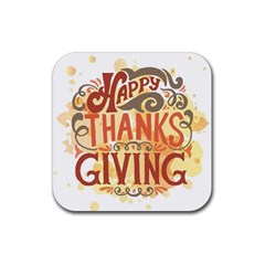 Happy Thanksgiving Sign Rubber Square Coaster (4 Pack)