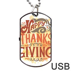 Happy Thanksgiving Sign Dog Tag Usb Flash (two Sides)
