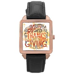Happy Thanksgiving Sign Rose Gold Leather Watch