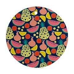 Fruit Pineapple Watermelon Orange Tomato Fruits Ornament (round)