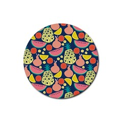 Fruit Pineapple Watermelon Orange Tomato Fruits Rubber Round Coaster (4 Pack)