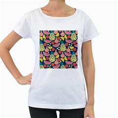 Fruit Pineapple Watermelon Orange Tomato Fruits Women s Loose Fit T Shirt (white)
