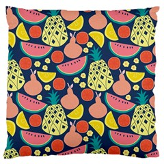 Fruit Pineapple Watermelon Orange Tomato Fruits Large Flano Cushion Case (two Sides)