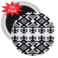 Model Traditional Draperie Line Black White Triangle 3  Magnets (100 Pack)