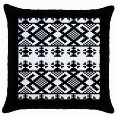 Model Traditional Draperie Line Black White Triangle Throw Pillow Case (black)