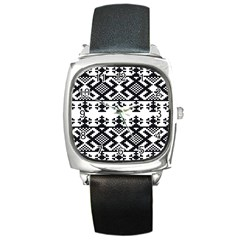 Model Traditional Draperie Line Black White Triangle Square Metal Watch